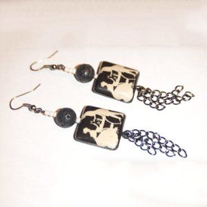 Jewelry - Black & Cream French Decoupage Long Chain Earrings